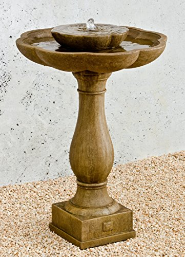 Campania International FT-180-VE Flores Pedestal Fountain, Verde Finish For Sale