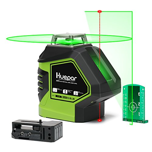 Huepar Self-Leveling Green Laser Level 360 Cross Line with 2 Plumb Dots Laser Tool -360-Degree Horizontal Line Plus Large Fan Angle of Vertical Beam with Up & Down Points -Magnetic ()