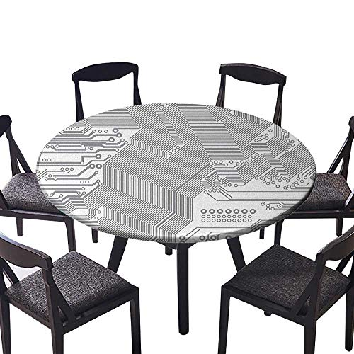 Free Plans Stool - Round Tablecloths Motherboard Electronic Hardware Technical Display Futuristic Plan Design Grey White or Everyday Dinner, Parties 31.5