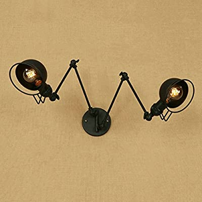 "Industrial 2 Light Wall Sconce - LITFAD Adjustable 47.24"" Multi Light Wall Light with Extendable Fixture Arm"