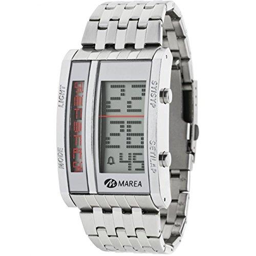 B35253/1 Reloj Marea Caballero, digital, crono, alarma, luz, caja y brazalete de acero, sumergible 50 metros, garantía 2 años.: Amazon.es: Relojes