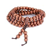 Wood Buddha Necklace Chain Bracelets Mala Buddhist Strand Prayer Beads Sandalwood Link Wrist