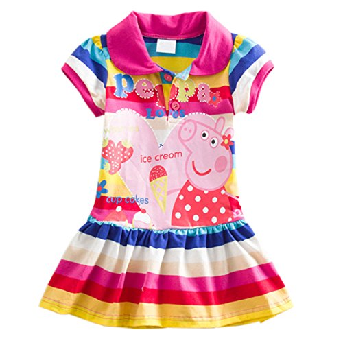 Yuting Little Girls' Summer Peppa Pig Dress,lapel Rainbow Color 2-7t (3/4y)