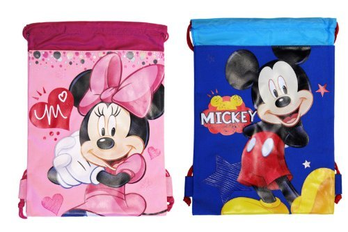 (2ct) Mickey & Minnie Mouse Drawstring Backpack - Large Drawsting Bag]()