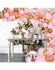 DIY Balloon Garland Kit & Balloon Arch, Party Supplies Decorations, 140Pcs Pink, Rose Gold & Confetti Balloons, Golden Ballons for Birthday, Wedding, Graduation, Baby Shower, Anniversary Organic Party