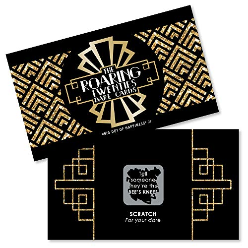 Big Dot of Happiness Roaring 20's - 1920s Art Deco Jazz Party Game Scratch Off Dare Cards - 22 Count