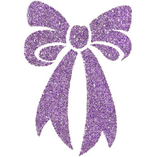 Irvint & Co Glittered Arms Hands Neck Chest Temporary Tattoos Sparkling Purple Bow Ribbon Fake Tattoos Body Stickers Made in USA ()