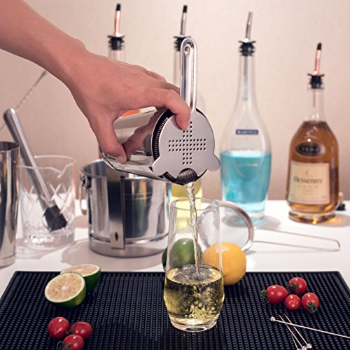 Cocktail Strainer Set for Professional Bartenders and Mixologists – Stainless Steel Hawthorne Strainer, Julep Strainer and Fine Mesh Conical Strainer by ALOONO (Image #3)