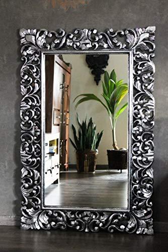 Naturesco Wandspiegel Barockspiegel massiv Holz Silber antik 120cm x 80cm