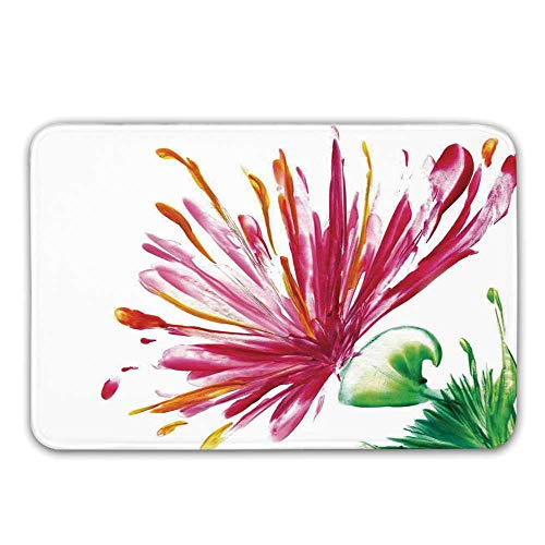 TecBillion Watercolor Flower House Decor Rubber Backing Non Slip Door Mats,Opened Out Asiatic Oriental Lily Freesia Florets Home Art Doormat Floor Mats Rugs,23.6