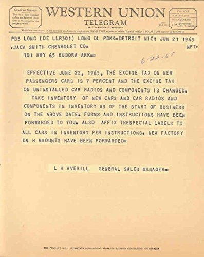 1965 Chevrolet Federal Excise Tax Letter Telegram Lot