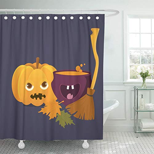 Emvency Fabric Shower Curtain Curtains with Hooks Cartoon Witch Cauldron with Magic Boiling Soup Potion and Halloween Pumpkin Squash Jack O'Lantern 72