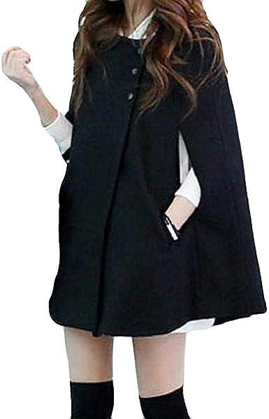 LUCKYCAT Mujeres de Talla Grande Moda Botón de Capa sólida Abrigo ...