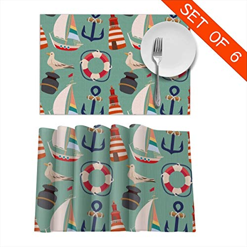 Tidyki Placemats Set of 6 Table Mats Cartoon Boat Anchor Sailing Pigeon Washable Fabric Heat Insulation Kitchen Dining Dinner Decorations Place Mats