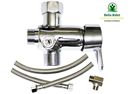 Bella Bidet Metal T-adapter with Shut-off Home Bathroom HOT And COLD Mixing Valve Kit 4-way Tee Connector For Bidet CS And CSL by Soharic