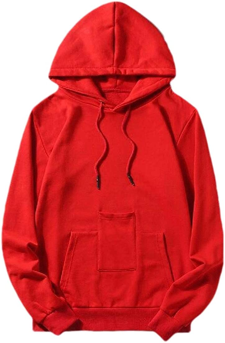 RRINSINS Men Casual Hoodies Drawstring Pullover Solid Color Pullover Long Sleeve Sweatshirt Shirt