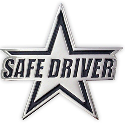 PinMart's Silver Plated Safe Driver Star Award Enamel Lapel Pin by PinMart