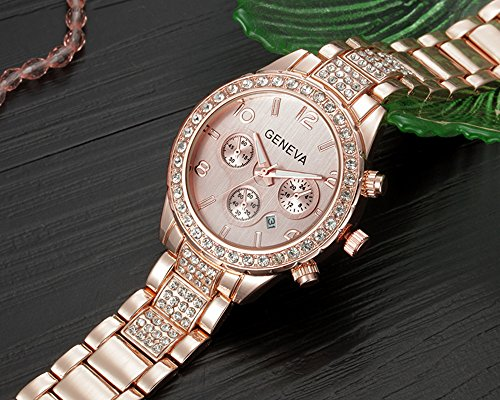Unisex Luxury Pave Floating Crystal Diamonds Calendar Quartz Watch with Stainless Steel Link Bracelet