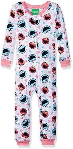 Sesame Street Baby Girls Elmo and Friends Cotton Non-Footed Pajama, White, (Elmo Full Body)