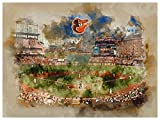 Baltimore Orioles Poster Watercolor Art Print 12x16 Wall Decor