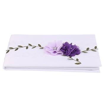 Sharplace Hochzeitsgästebuch weiß Spitze Gästebuch mit Lila Blumen ...