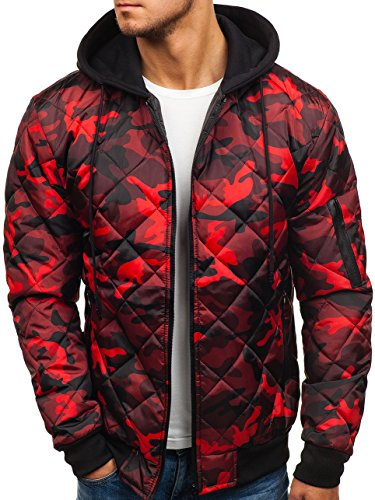 Chaqueta BOLF Entretiempo De Cierre Hombre Camuflaje Rojo de Diseño 4D4 Capucha con Cremallera pq5R5xr
