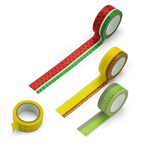 Mustard Washi Paper Masking Sticky Tape - Assorted colors Froot Washi Tape ()