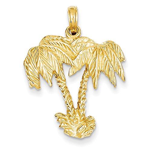 Diamond2Deal 14k Yellow Gold Double Palm Trees Pendant
