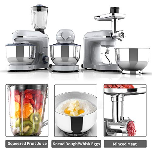 Nurxiovo 850W Food Mixer 3 in 1 Tilt-Head 6 Speed Stand Mixer Kitchen with Dough Hook Whisk Beater 7QT Stainless Steel Bowl Silver