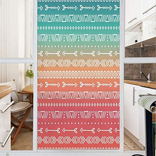 Decorative Window Film,No Glue Frosted Privacy Film,Stained Glass Door Film,Colored Geometric Ethnic Aztec and Maya Patterns and Arrows Bohemian Style Native Art,for Home & Office,23.6In. by 47.2In -