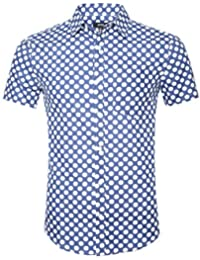 Mens Casual Dress Cotton Polka Dots Short Sleeve Shirts