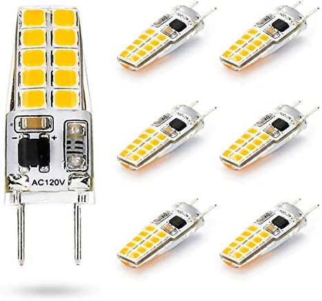 G8 LED Bulb 3W Equivalent to T4 JCD Bi-Pin G8 Base Halogen Bulb 20W-25W Dimmable G8 Light Bulb 110V-120V Warm White 2700K-3000K for Puck Light, Under Cabinet Light, Under Counter Light (6 Pack)