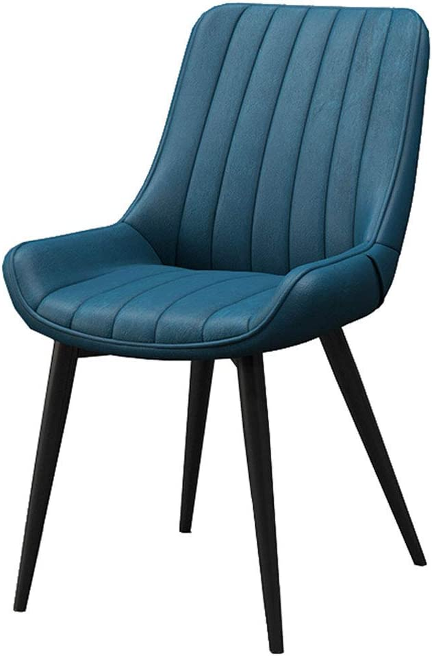 """HTL Desk Chairs Home Living Room Armless Side Chair, Upholstered Dining Chairs Leisure Accent Chairs, Faux Leather and Metal Assembled Legs, 32"""" H,Blue,Black Legs"""