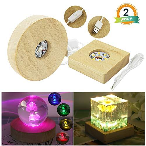 (LED Lights Display Base LET'S RESIN 2PCS Wooden Lighted Base Stand for Laser Crystal Glass Resin Art)