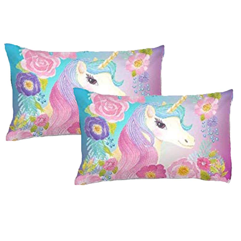ADASMILE A & S Kids Unicorn Pillow Cases 2 Pieces Cute Magical with Flowers Pillow Cover Decorative Girls Gift for Bedroom Unique Pillow Slip,20''x30''