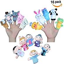 Finger Puppets for Children, Velvet Cute Animal And Family Style, Shows, Playtime, Schools Dolls Props Toys - 16 Different Set