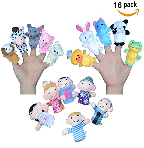Finger Puppets for Children, Velvet Cute Animal And Family Style, Shows, Playtime, Schools Dolls Props Toys - 16 Different Set (Puppet Finger Kit)