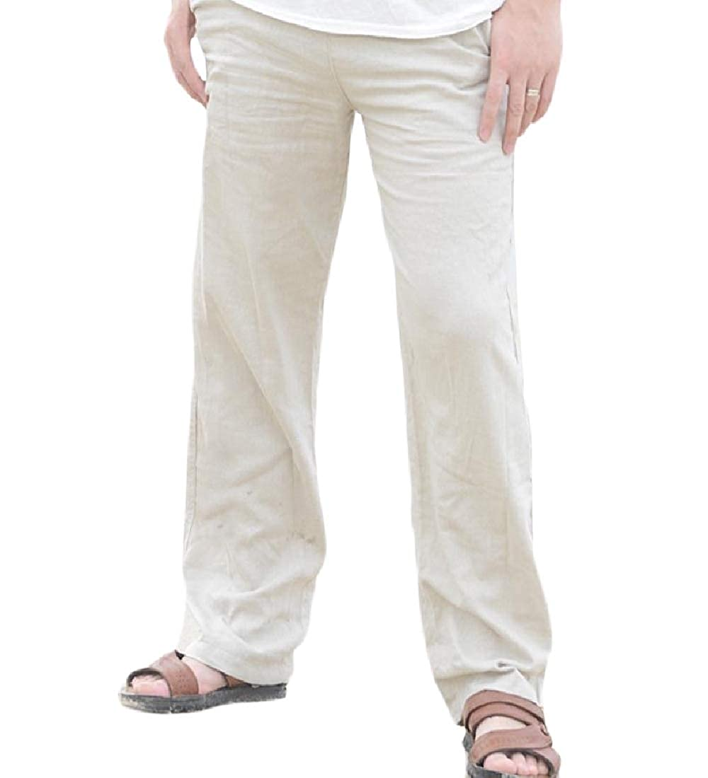 Beeatree Men Linen Casual Lightweight Drawstrintg Summer Beach Pants