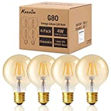 Dimmable G80 Globe Bulbs - KEDSUM 4W Warm 2200K (Amber Glow) 200 Lumens LED Filament, 40W Equivalent - Vintage Edison LED Lighting bulb E26 Globular Antique Light for Decorate, Pack of 4