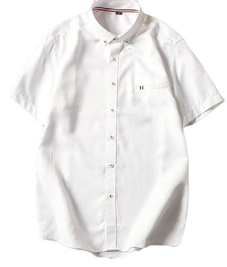 heymoney Mens Casual Tops Blouses Short Sleeve Button Down Dress Shirt
