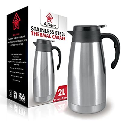 AiNeat Thermal Carafe-68 oz 2 Litre Carafes-Vacuum Insulated Double Wall Pitcher-Food Grade 304 Premium Stainless Steel Inner Wall with Copper Coating-Longer Heat or Cold Retention for Coffee or Tea