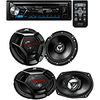 Pioneer CD Receiver with Pioneer ARC App Compatibility, MIXTRAX (2) JVC 6.5 300w Car Audio Speakers+(2) 6x9 1000w Speakers