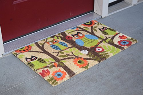 Kempf Forrest Owls Coco Door Mat with Vinyl Backing (22