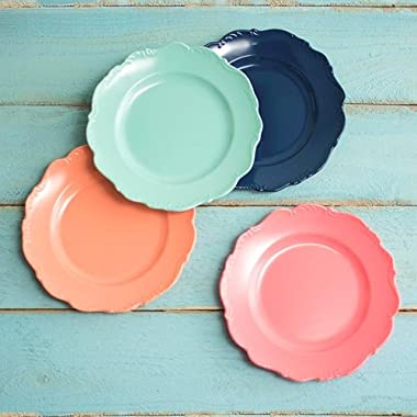 Dinner Plates, Scroll Trim, 9in, Assorted Party & Event Pack, Set of 4