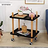 Lxrzls Nordic Simple 2 Layer Trolley Cart Sofa Living Room Mini Solid Wood Corner Table with Wheels Can Move Coffee Table (Color : Black -1001)