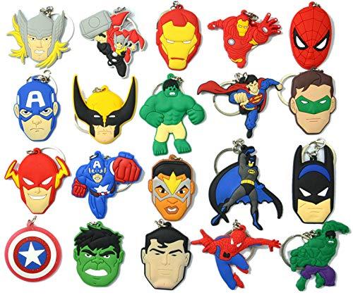 20pcs Superhero Keychain Key Tags Superhero Goodie Bag Stuffer Christmas Gift Holiday Charms for Kids Birthday Party Favors School Carnival Reward Prizes Decoration Supplies -