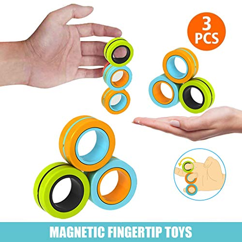 LA GUAPA 3 PCS Magnetic Rings Magnetic Bracelet Ring Unzip Toy Decompression Toys Finger Gyro Toy with Bearing Colorful Unzip Finger Game Hand Spinners Fidget Toy