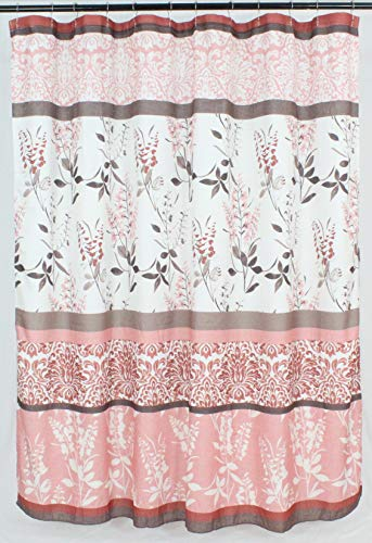 (VCNY Home Pink Coral Fabric Shower Curtain: Contemporary Floral Bordered Damask Design, 72 by 72 Inches)