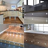 Set of 10, 15mm Cool White LED Decking / Deck / Plinth Lights (high quality stainless steel lights - ideal for kitchen plinths, patio lighting, stairs, etc)