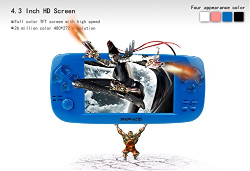 Handheld Game Console, PAP-KIII Retro Game Console 650 Classic Games 4.3 Inch TFT Screen Portable Game Console, Support GBA/SEGA/SFC/NEOGEO/NES - Blue by Anbernic